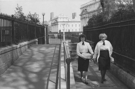 Photo of two women near old Naval Hospital, Greenwich